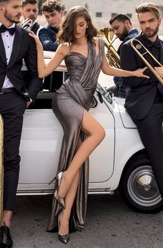 Tarik Ediz - 93900 Asymmetric Neck Fitted Dress With Slit – Couture Candy Pernas Sexy, Vestidos Sexy, Elegantes Outfit, High Fashion, Womens Fashion, 2000s Fashion, Sugar Baby, Slit Dress, Sexy Legs