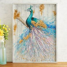 With empty wall space, you can get creative, and wood wall decor is the perfect way to let your imagination wander! Wall Decor Design, Wooden Wall Decor, Bathroom Wall Decor, Wooden Walls, Wall Art Decor, Room Decor, Peacock Wall Decor, Peacock Bathroom, Illustration Techniques