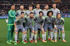Real Madrid line up prior to the UEFA Champions League football match AS Roma vs Real Madrid on Frebruary 17, 2016 at the Olympic stadium in Rome.