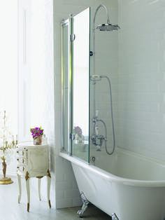 Corner Roll Top Bath With Shower