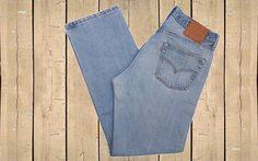 Vintage Levis 501 USA Made Mens Denim Jeans Straight Leg Button Fly Stonewash Blue W35 L32 by BlackcatsvintageUK on Etsy