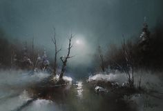 Russian Artists New Wave Painting - Moon Light by Igor Medvedev