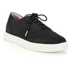 Kate Spade New York Catlyn Leather Wingtip Sneakers (11,175 PHP) ❤ liked on Polyvore featuring shoes, sneakers, apparel & accessories, lacing sneakers, leather wingtip shoes, kate spade shoes, lace up shoes and brogue sneakers