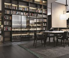 Poliform|Varenna _ Wall System composition. Howard table; Ventura chairs.