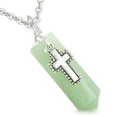 Amulet Crystal Point Wand Holy Cross Charm Green Quartz Pendant 22 Inch Necklace >>> Click image to review more details.(This is an Amazon affiliate link)