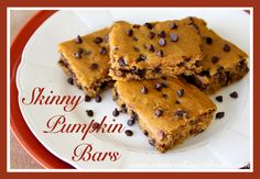 Share Tweet + 1 Mail Skinny Pumpkin Bars Skinny Pumpkin Bars are the perfect recipe to satisfy your pumpkin-chocolate-cravings!! They are moist, delicious, and ...