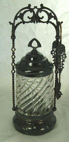 A vintage Pickle Castor. Condiment Sets, Pickle Jars, Bottles And Jars, Mason Jars, Primitive Antiques, Glass Dishes, Carnival Glass, Vintage Glassware, Antique Glass