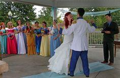 "Disney's ""The Little Mermaid"" wedding  . with eight bridesmaids dressed as Disney's leading ladies - Cinderella, Snow White, Sleeping Beauty, Jasmine, Belle, Alice in Wonderland, Giselle and Meg. So cute!!!"