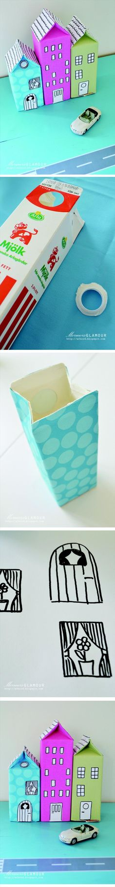 make fake toy houses from old milk cartons