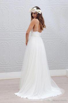 2016 playa verano Boho vestidos de novia sexy backless espaguetis correas piso de longitud boda vestidos de novia bohemia vestidos formales para la boda