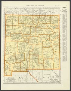 Vintage Map New Mexico from 1937 Original by ManyPlacesMaps