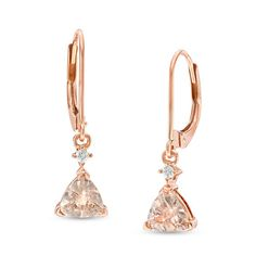 6.0mm Trillion-Cut Morganite and Diamond Accent Drop Earrings in 10K Rose Gold