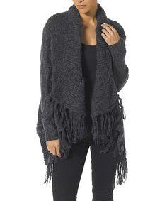 Look at this #zulilyfind! Black Tassel-Trim Wool-Blend Open Cardigan #zulilyfinds