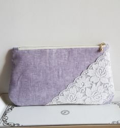 Purple Linen Lace Bridal Clutch Handmade Bridesmaids clutch Women Purse Weddings Dinner Clutch Party Clutch