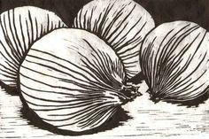 Onions - linocut print - Katherine Grey, U.S.A.