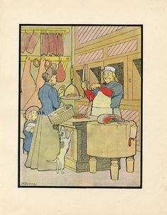 Day 28. Butcher Shop Meat Market Lady Buying Sausage Links Antique Lithograph | eBay