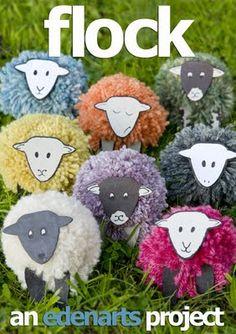 Add a craft foam sheep face to a pompom body