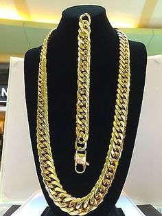 SOLID 14K YELLOW GOLD FINISH STAINLESS STEEL MIAMI CUBAN LINK CHAIN & BRACELET