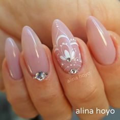 definitely get rid of the white nail art and have less flashy rhinestones White Nail Art, White Nails, Pink Nails, My Nails, Henna Nails, Lace Nails, Henna Nail Art, Colorful Nail Designs, Nail Art Designs
