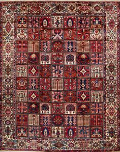 "Buy Bakhtiari Persian Rug 9' 10"" x 12' 8"", Authentic Bakhtiari Handmade Rug"