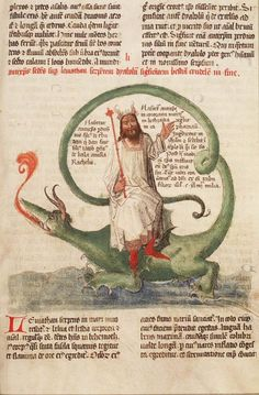 'Antichrist riding Leviathan.' From Lambert of St. Omer, Liber Floridus (Lille and Ninove; 1460). The Hague, KB, 72A 23