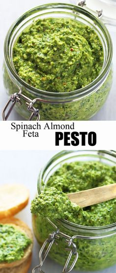 This delicious Spinach Pesto is made with almonds and feta cheese. The coarse texture makes it perfect as a dip or spread. #pesto #appetizer Almond Pesto, Dip Recipes, Veggie Recipes, Sauce Recipes, Vegetarian Recipes, Healthy Recipes, Cooking Recipes, Spinach Recipes, Queso Feta