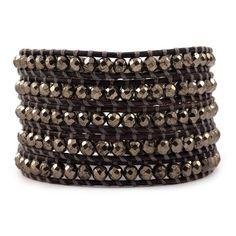 Chan Luu - Pyrite Wrap Bracelet on Natural Grey Leather, $190.00 (http://www.chanluu.com/wrap-bracelets/pyrite-wrap-bracelet-on-natural-grey-leather/)