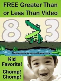 Your students will love this alligator video about greater than or less than. The adorable alligator is a great way to help the students remember. His mouth naturally creates the greater than or less than symbol! Kindergarten Anchor Charts, Kindergarten Activities, Teaching Math, Learning Activities, Number Activities, Creative Teaching, Teaching Strategies, Teaching Ideas, 1st Grade Math