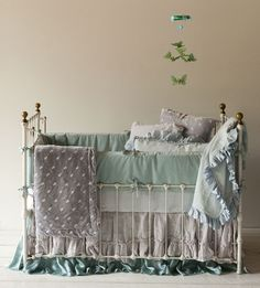 A gorgeous crib full of Bella Notte linens. Noah has the velvet blanket with silk ruffle and it is by far the softest and most luxe item in his nursery.