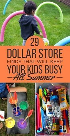 29 things from the Dollar Store for summer activities for kids! Great list filled with creative ideas kids of all ages will love!