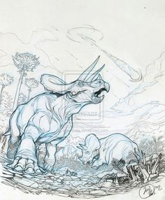 love the form on this triceratops Dinosaur Drawing, Dinosaur Art, Raptor Dinosaur, Prehistoric Creatures, Mythological Creatures, Animal Sketches, Animal Drawings, Dinosaur Sketch, Jurassic World Dinosaurs