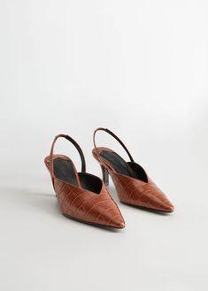Sapato de camurça de salto geométrico | Sapatos mango