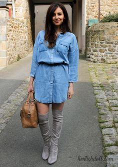 Robe en jean x cuissardes grises