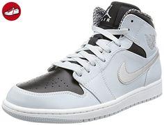 timeless design b66b7 c5e5d Nike Herren Air Jordan 1 Mid Basketballschuhe, SilberfarbenWeiß, 42.5 EU -  Nike