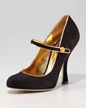 Dolce and Gabbana black and gold mary jane heels - with gold rose accents