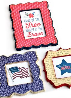 DIY Patriotic Mod Podge Frames tutorial + free printables at TidyMom.net