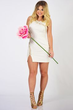 Ark & Co: Lusting Over You Dress: Off White/Gold