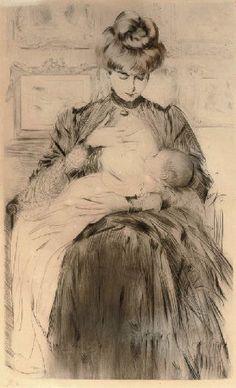 """Breastfeeding"" Paul Cesar Helleu"