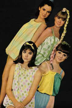 Colleen Corby in Seventeen, 1965. Not sure if they are pajamas, mini dresses, or rompers, but they're precious.