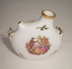 VINTAGE LIMOGES PORCELAIN SMALL WATER FLASK JUG HAND PAINTED FREE SHIPPING