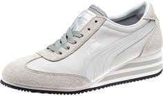 Grey Leather Wedge Sneakers: Puma Caroline Stripe Ts Wedge Sneakers