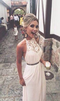 Summer Style White Lace Bear Shoulder Halter Maxi Long Dress