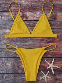 Cami Plunge String Bikini Set - YELLOW S Mobile