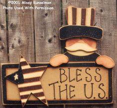 000041 (3) Bless The US Sam-yard stake, Missy Kunselman, spring, USA, patriotic, wood kits, wood blanks, craft parts, wood