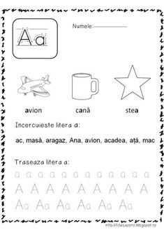 Fise litere | CLASA PREGATITOARE Alphabet Tracing Worksheets, Alphabet Writing, Kids Math Worksheets, Preschool Activities, Cat Anatomy, Paper Trail, Math For Kids, School Lessons, Kids Education