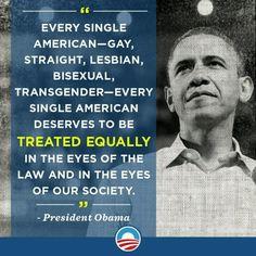 President Obama speaks of equal rights