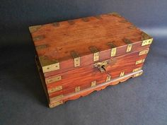 Antique Stationary Chest  Brass Bound Office by MemoryOfThePast