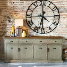 The FERDINAND patinated recycled pine counter adds French Industrial Decor, Vintage Industrial Furniture, Vintage Sofa, Solid Oak Sideboard, Oversized Clocks, Recycling, Kitchen Buffet, Pine Walls, Decoration Home