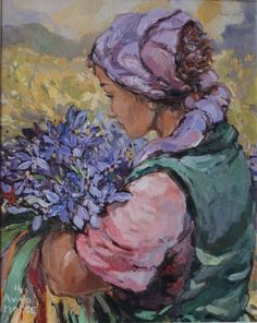 Maree Aviva, Oil on canvas, Geur van veldblomme Day Of Pentecost, South African Artists, Paintings I Love, Fabric Painting, Face Art, Figure Painting, Art Images, Flower Art, Oil On Canvas
