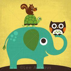 131M Retro Elephant, Turtle, Owl and Squirrel 6x6 Print